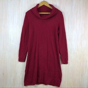 Athleta Red Merino Wool Cowl Neck Sweater Dress